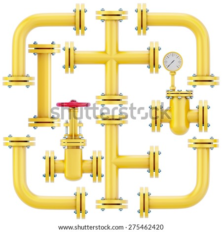 Pipeline elements isolated on white background. Set of elements of a gas pipe for assembly of the pipeline. 3d illustration. - stock photo