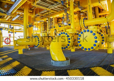 Pipeline production and control valve for oil and gas process, Petroleum construction on offshore wellhead remote platform, Energy and petroleum industry, Oil and gas or petroleum is major of world. - stock photo