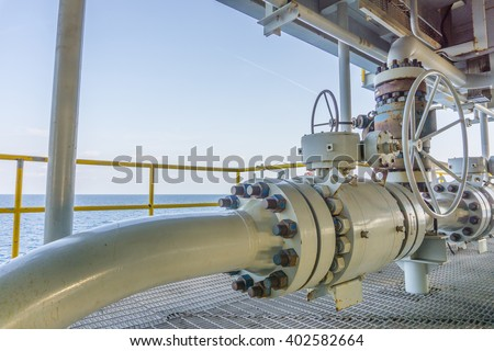 Pipeline production and control valve for oil and gas process, Pipeline construction on offshore wellhead remote platform, Energy and petroleum industry. - stock photo