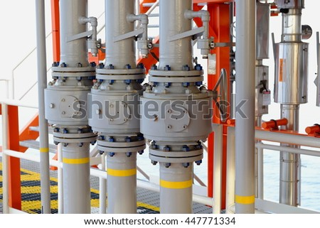 Pipeline production and valve for oil and gas process, Pipeline construction on offshore wellhead platform, The petroleum industry.
