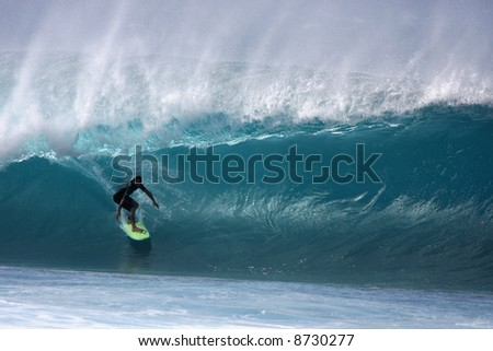 Pipeline surfer - Nathan Fletcher - stock photo