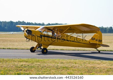Piper J-3C-65 Cub. Radom, Poland - August 23, 2015: . Airshow event on 23 August 2015, Radom, Poland
