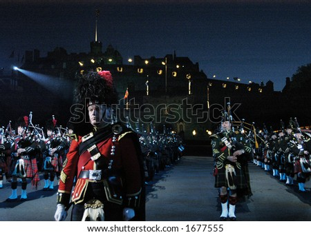 Pipes and Drums at the Edinburgh Military Tattoo - stock photo