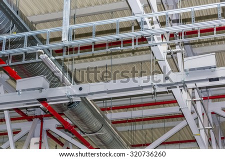Pipes and other engineering services in industrial building