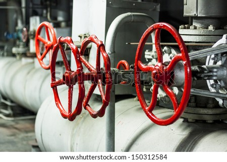 Pipes and red safety valves.