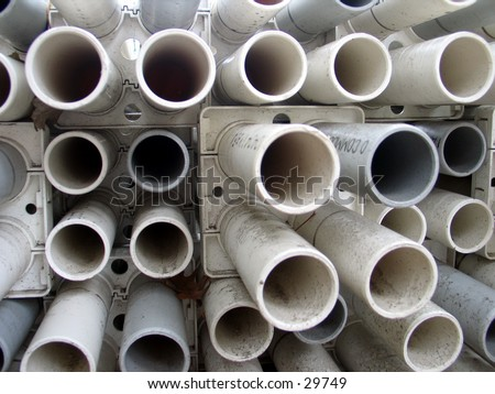 Pipes at a construction site in Tribeca, NYC