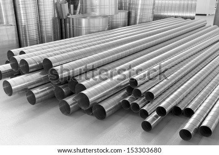 pipes from stainless steel, are used in ventilation systems - stock photo