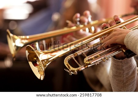 Pipes in the hands of musicians - stock photo