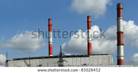 Pipes of coal  burning power station, panorama. Moscow, Russia - stock photo
