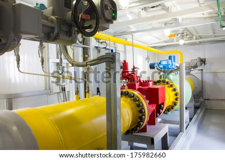 pipes of thermal power plant - stock photo