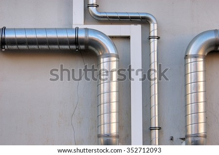 Pipes on house wall