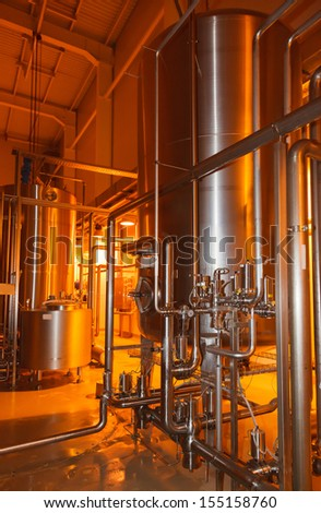 pipes, tanks for the food industry - stock photo