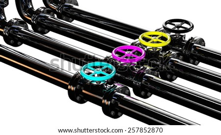 pipes with cyan magenta yellow and black rendered in 3d with clipping path - stock photo