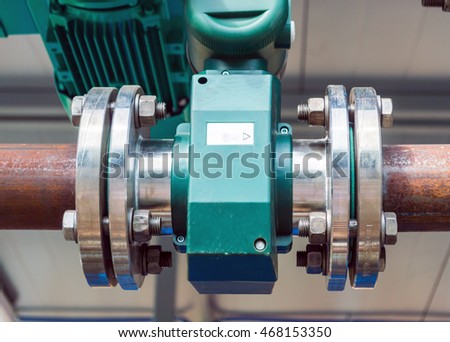 Pipes with heat and pressure sensors on flange of water pipes supply
