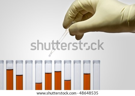 Pipette in test tubes