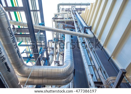 Piping and equipment in combine cycle power plant with metal tone