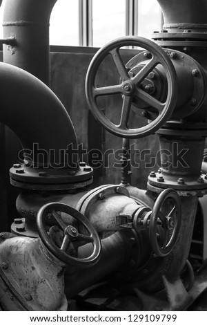 Piping in the old ironworks, Volklingen, Saar, Germany