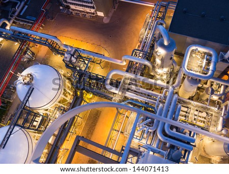 piping system in industrial plant from above