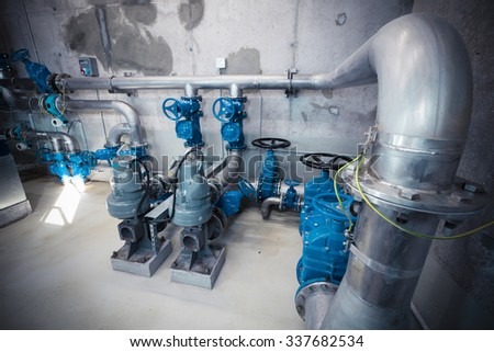 piping systems, industrial equipment, interior - stock photo