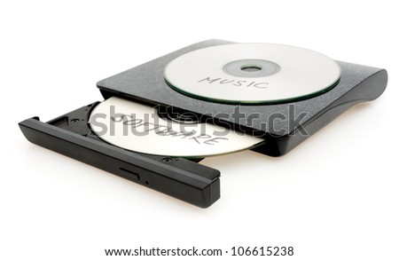 Piracy - CD Burner With Disc With Illegal Software on White Background - stock photo