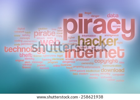 Piracy word cloud concept with abstract background - stock photo