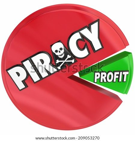 Piracy word on a pie chart eating profits by stealing files in illegal internet torrent site activity - stock photo