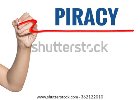Piracy word write on white background by woman hand holding highlighter pen - stock photo