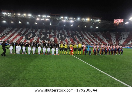 PIRAEUS, GREECE -FEB. 25. Opening of round of 16 Champions League football match Olympiakos vs Manchester United (2-0) at Karaiskaki Stadium in Piraeus near Athens on February 25, 2014 - stock photo
