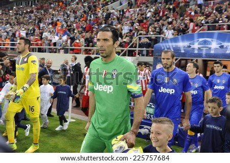 Piraeus, Greece Oct. 22, 2014.Juventus goalkeeper Gianluigi Buffon during a Champions League soccer match between Olympiakos and Juventus at Georgios Karaiskakis Stadium in the port of Piraeus.  - stock photo