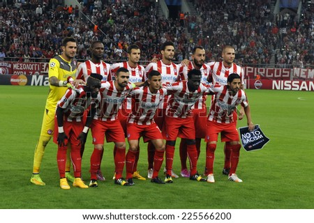 Piraeus, Greece Oct. 22, 2014. Olympiakos team at the Champions League football match between Olympiakos vs Juventus (1-0) at Karaiskaki Stadium in Piraeus near Athens  - stock photo