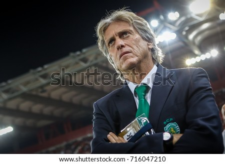 Piraeus, Greece - Sempteber 12, 2017: Coach of Sporting Jorge Jesus during the UEFA Champions League game between Olympiacos vs Sporting CP at Georgios Karaiskakis stadium
