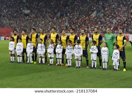 Piraeus,Greece Sept 16, 2014. Atletico team  before the Champions League soccer match against Olympiacos at Georgios Karaiskakis Stadium in the port of Piraeus near Athens - stock photo