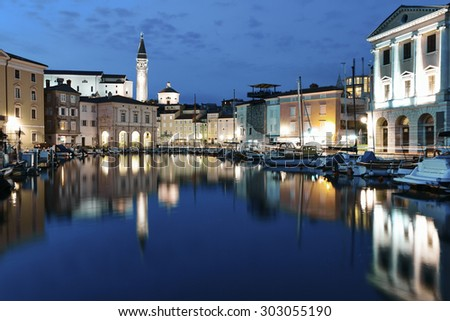 Piran is one of the most beautiful cities in the Mediterranean, Slovenia. - stock photo