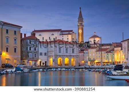 Piran. Piran is one of the most beautiful cities in the Mediterranean, Slovenia. - stock photo