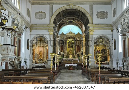 PIRAN, SLOVENIA - JULY 04: Unidentified people church Saint George in the picturesque village on Adriatic sea, on July 04, 2015 in Piran, Slovenia