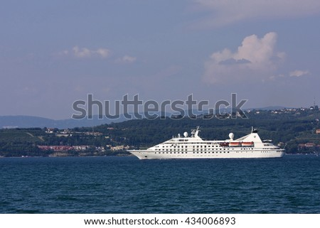 PIRAN,SLOVENIA-JUNE 19,2016:Cruise ship in the Gulf of Trieste ,Koper, Istria, Adria Slovenia, Europe