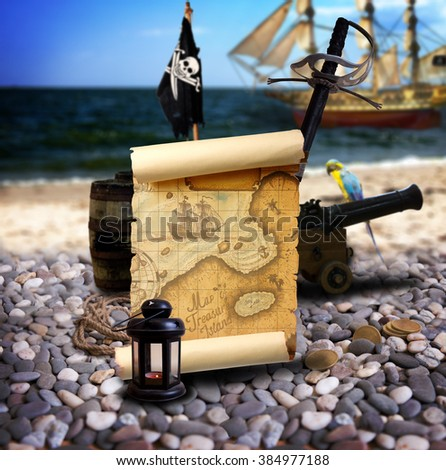 Pirate ambiance with map, cannon, treasure, lantern, and parrot on the bank of an empty pebble beach. In the background is pirate schooner. - stock photo