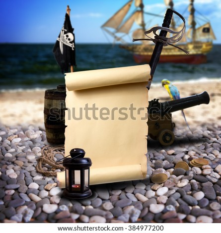 Pirate ambiance with with scroll and space for text, cannon, treasure, lantern, and parrot on the bank of an empty pebble beach. In the background is pirate schooner. - stock photo