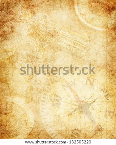 Pirate and nautical theme grunge background - stock photo