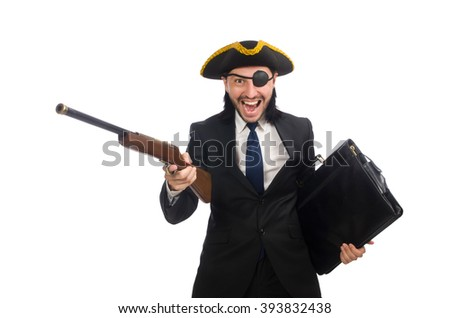 Pirate businessman holding weapon isolated on white