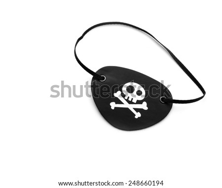 Pirate eyepatch on white - stock photo