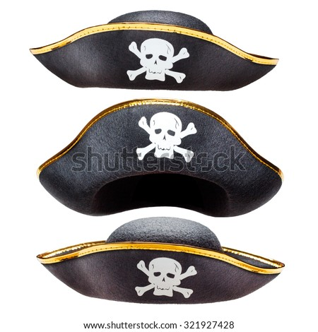Pirate fancy dress hat with Jolly Roger - stock photo