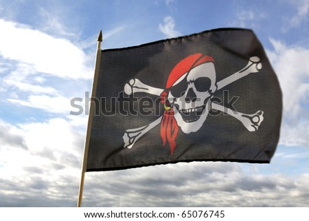 Pirate flag and clouds