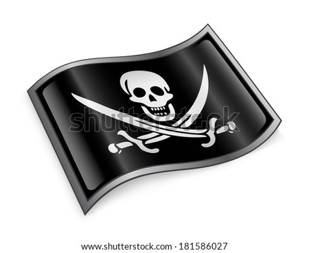 pirate flag icon, isolated on white background