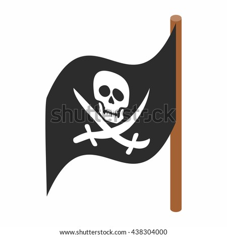 Pirate flag icon, isometric 3d style