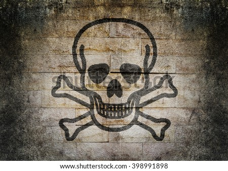 Pirate flag in grunge style  human skull and crossbones - stock photo