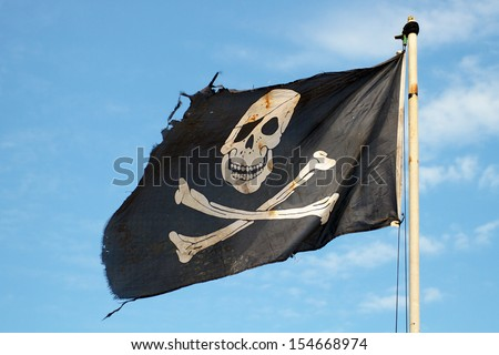 Pirate Flag Waving Pirate Flag in The Wind