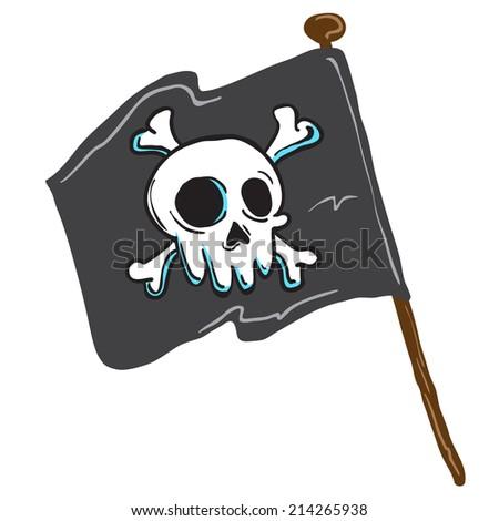 pirate flag isolated on white comic illustration - stock photo