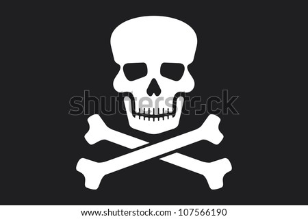 pirate flag (jolly roger pirate flag with skull and cross bones - stock photo