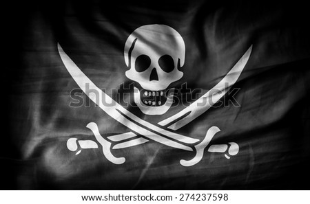 Pirate flag of fabric texture - stock photo